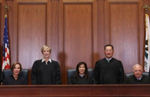 Judges in the California Supreme Court pose as they rule that that city and county governments have the legal authority to ban cannabis care centers.