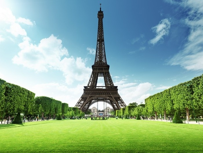 The Eiffel Tower in Paris, France on a bright and sunny day as the French government approves CBD research.