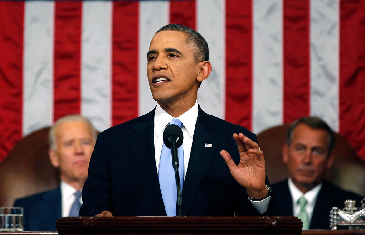 President Barack Obama delivers the State of Union address before Congress on Tuesday, Jan. 28, 2014 | Cannabis Now Magazine (AP Photo/Larry Downing, Pool)