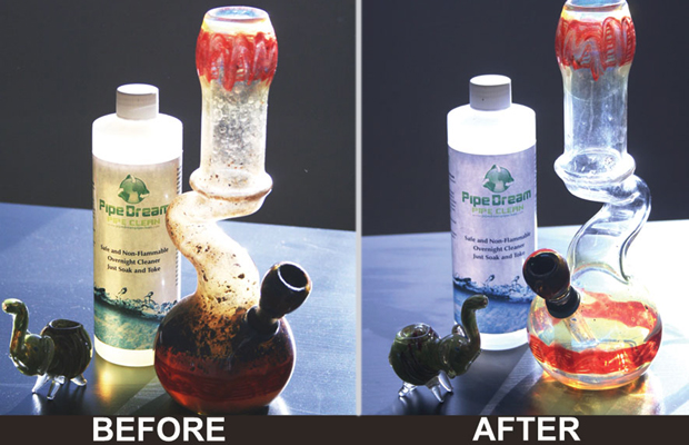 A before and after image of a bong cleaned by Pipe Dream Pipe Cleaner.