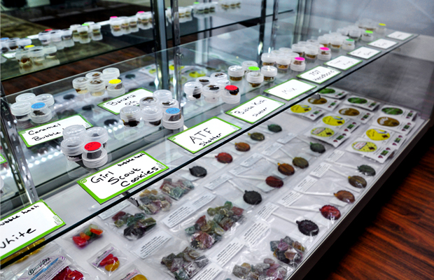 A display case at a dispensary in Colorado may no longer be able to showcase large quantities of concentrates and edibles.