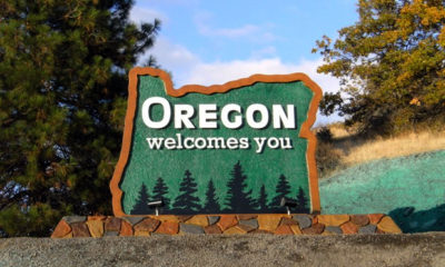 A welcome to Oregon sign greets many people seeking marijuana in this newly legalized state.