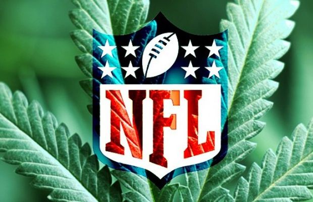 A pot leaf is overlaid with the NFL logo.
