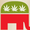 The republican elephant symbol with the blue back replaced with green and three pot leaves.