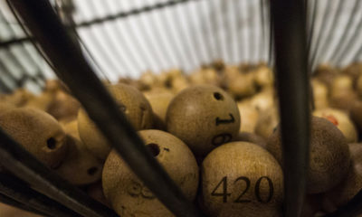 A cage full of lottery balls represent the cannabis license lottery in Washington.
