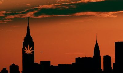A sunset skyline of NYC shows a pot leaf on the Empire State Building as New York looks to legalize medical marijuana.