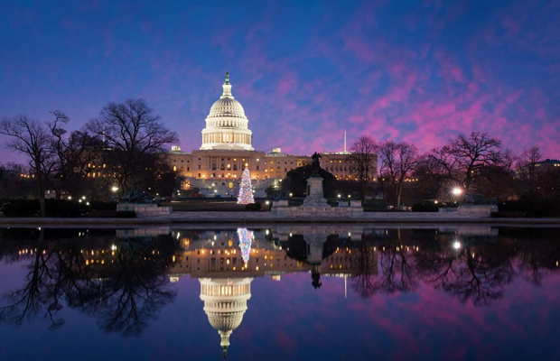 The sunsets on the U.S. Capitol in Washington D.C. as they decriminalize marijuana.