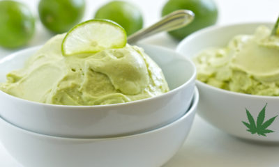 A bowl of bright green insfused ice cream is perfect for the summer.
