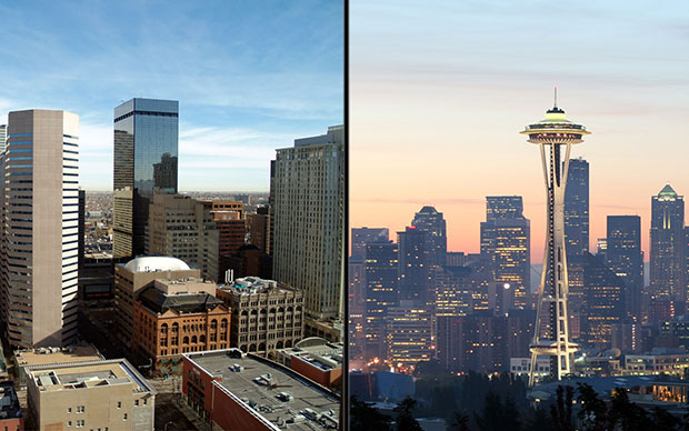Skylines of both Seattle and Denver, two cities with growing economies in legal marijuana