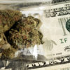 A five dollar bill is exchanged for a small bag of marijuana that has not been taxed due to an oversight in CO, resulting in less money for public schools.